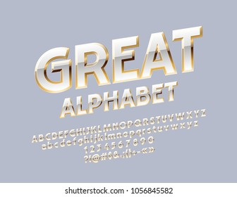 Vector White and Gold Great Alphabet. Luxury Letters, Numbers and Symbols. Chic rotated Font