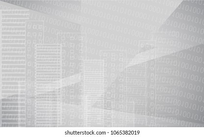 Vector white grey city background with buildings. City scene. Big skyscrapers panorama with binary code. Technology design.