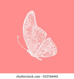 Vector white hand drawing butterfly. Illustration of butterfly in doodle, zentangle style.