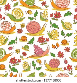 Vector white hand drawn snails and flowers repeat pattern. Suitable for gift wrap, textile and wallpaper. Surface pattern design.