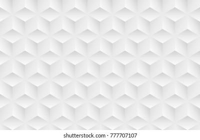 Vector white horizontal background. Seamless volumetric geometric pattern. Modern seamless pattern.