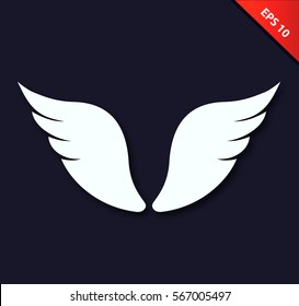 Vector white isolated angel wings on black background. Beauty unusual element for design