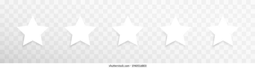 Vector white isolated five stars template. Five stars rating concept vector illustration. Customer feedback concept signs, symbols. Transparent. Web template. User interface. Vector graphic EPS 10