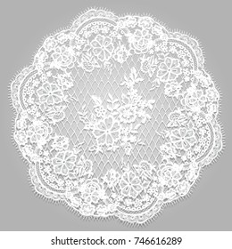 Vector White Lace Frame Template