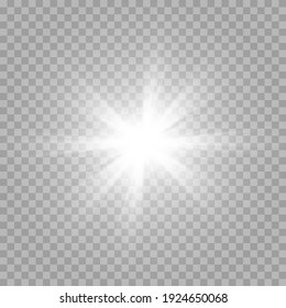 Vector white light. Sun, sun rays, flare, dawn png. Explosion of white light. White Star PNG. White flash png.