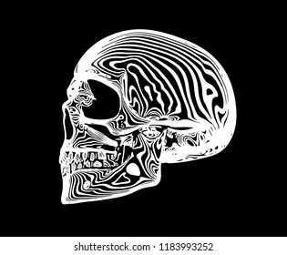 Vector white line skull on isolated black background with white rings.