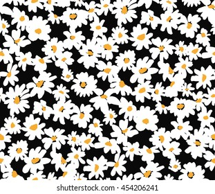 Vector white little daisy on a black background repeat pattern