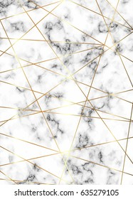 Vector white marble background with gold lines and geometric shapes, polygons.