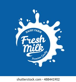 Vector white milk logo template on blue background