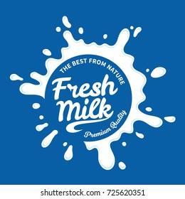 Vector white milk logo template on blue background.