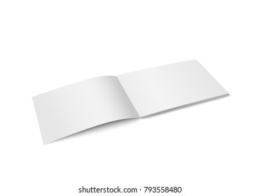 Vector white mock up of magazine isolated. Opened horizontal magazine, brochure, book or notebook template on white background. 3d illustration. Diminishing perspective.