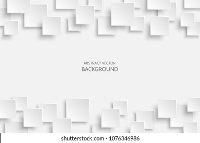 Vector white modern abstract background with sample text. Flying gray mat paper square pattern with soft shadows. Realistic 3d illustration.