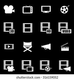 Vector white movie icon set.