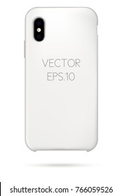 Vector white new phone cover mockup. Can be used as an Iphone X cover mockup or other smartphone