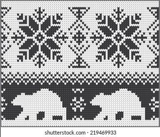 Vector white nordic christmas ornament bear