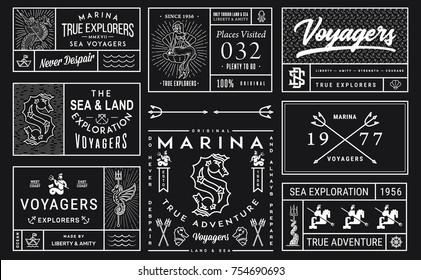 Vector White on Black Sea Badges Vol. 2 for any use