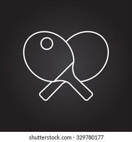 Vector white outline ping-pong icon on black background