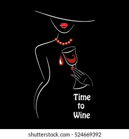 Vector white outlined lady silhouette with graphic glass of wine on black background with a place for your text. Element for your design logo, poster , menu, etc. Wine and grape festival concept