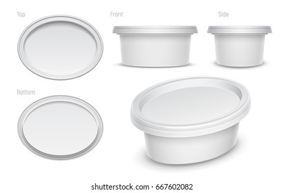 Vector white oval container for cosmetics cream, butter or margarine spread. Top, bottom, front, side and perspective views isolated over the white background. Packaging template illustration.