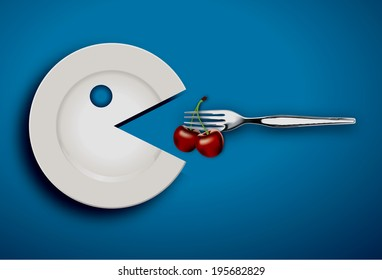 Vector of White Pac-Man Plate Eating Cherry with fork on blue background