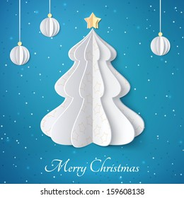 Vector white paper Christmas tree on blue glittering background. Design elements for holiday cards.