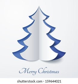 Vector white paper Christmas tree on a blue matte background. Design elements for holiday cards.