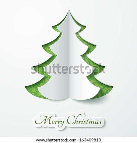 vector white paper christmas tree on のベクター画像素材
