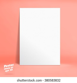 Vector : White paper poster in orange rose studio room, Template mock up for display of product or your content ,Business backdrop
