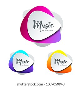 Vector white paper shape guitar pick colorful background with text space collections, illustration
