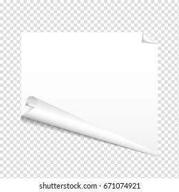 Vector white paper sheet isolated on transparent background. Vector illustration of blank twirled paper with bent corner. Top view of sheet with shadow.