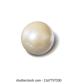 Vector White Pearl, Photo Realistic Illustration, Object with Shadow Isolated on White Background.