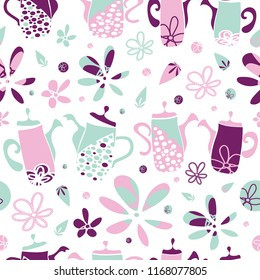 Vector white, pink, blue and mauve Garden Tea Party seamless pattern background. Perfect for fabric, scrapbooking, giftwrap,  wall paper projects, stationary, quilting