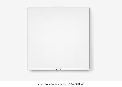 Vector white pizza box.