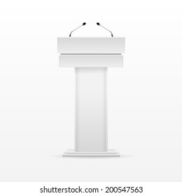 Vector White Podium Tribune Rostrum Stand with Microphones Isolated on Background