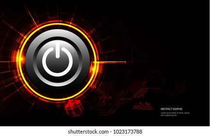 vector white power button on technology background.