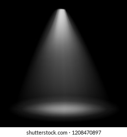Vector white projector light isolated on black background