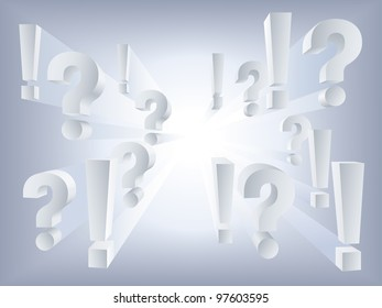Vector white question and exclamation marks on light background