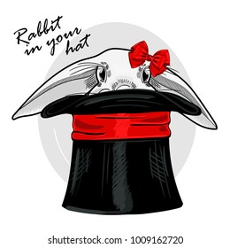 Vector white rabbit with black hat and red bow. Hand drawn illustration of dressed rabbit.