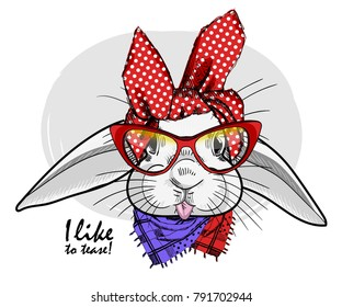 Vector white rabbit with red glasses. Hand drawn illustration of dressed rabbit.