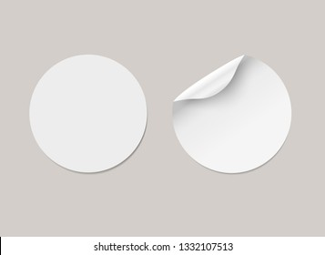 Vector white realistic round paper adhesive stickers with curved corner and shadow. Transparent background.