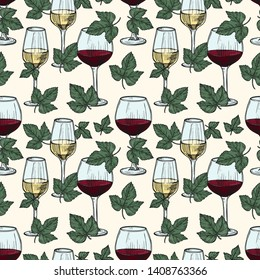 Vector white and red wine, grape vine leaves seamless pattern