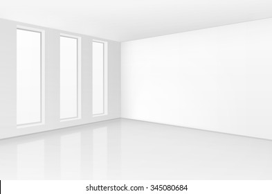 Vector White Room Interior in Minimal Style with Empty Wall Background