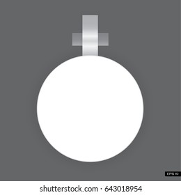 Vector white round paper wobbler, isolated on background. Template for your advertising price wobbler.