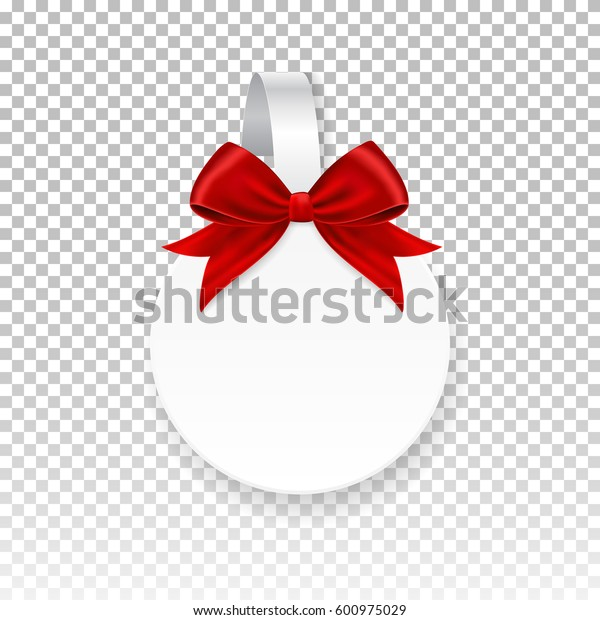 Vector white round paper wobbler with red bow, isolated on background. Template for your advertising price wobbler.