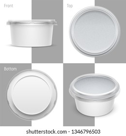 Vector white round plastic container with foil and transparent lid for cosmetics cream, butter or margarine spread. Set of top, bottom, front and perspective views. Packaging template illustration.