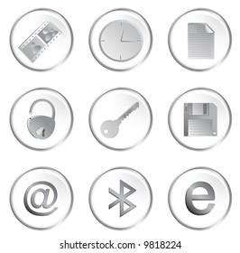 Vector of the white round web buttons set 3