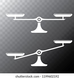 Vector white scales or libra Icon isolated on transparent bacground. Symbol of justice, lawyer or judgment