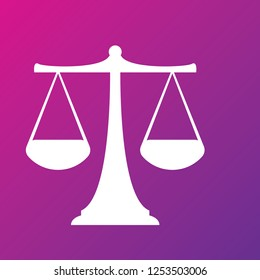 Vector white scales or libra Icon isolated on pink bacground. Symbol of justice, lawyer or judgment