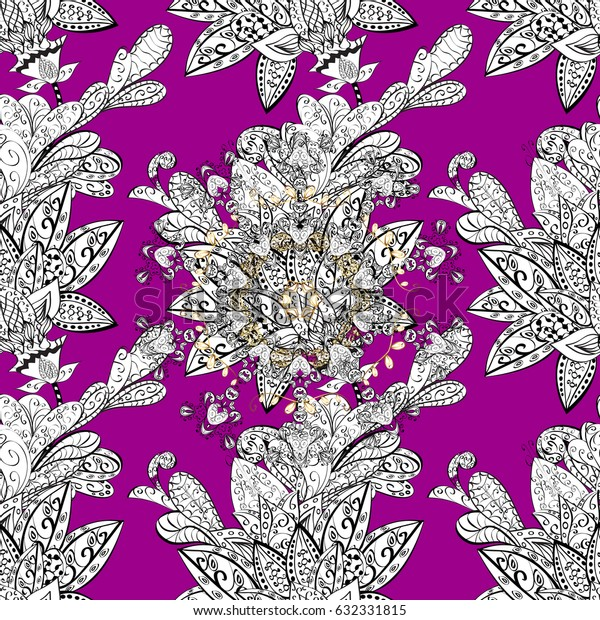 Vector white seamless pattern. Seamless pattern on magenta background. Seamless white textured curls. White elements in oriental style arabesques.