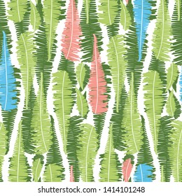 Vector white seamless pattern with vertical fern leaves stripes. Suitable for textile, gift wrap and wallpaper.